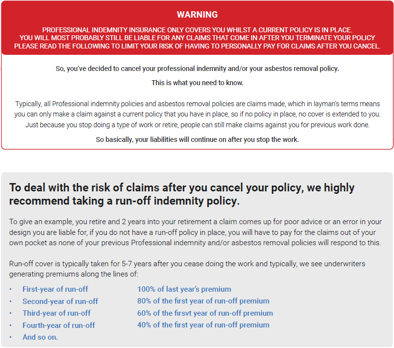 cancellation form professional indemnity